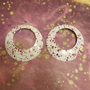 Jewelry - White Paint-Speckled Hoop Earrings